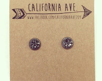 Hypoallergenic Faux Druzy Earrings 8mm (Surgical Stainless Steel) - Slate