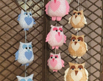 String of owls, owl decoration, wall hanging