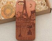 French Vintage Style Custom Design ''Night Cat'' Natural Cherry Wood Phone Case iPhone 5/5s 5C 6 6 plus 7 7 plus