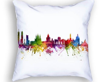 Madrid Pillow, Madrid Skyline, Madrid Cityscape, Throw Pillow, 18x18, Cushion, Home Decor, Gift Idea, Pillow Case 06