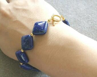 Lapis lazuli diamond bead bracelet