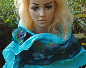 Aqua Light Blue Embroidered Nuno Felted Scarf Long Pure Wool and Silk with Matching Flower Brooch