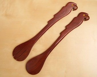 Vintage salad servers / serving spoons || brown / red wood || parrot handles