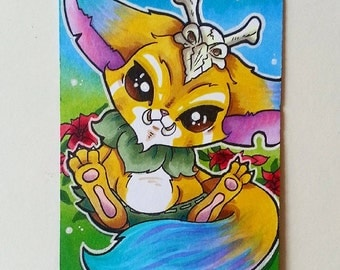 Gnar League of Legends Hand Drawn Sketch Card / ACEO