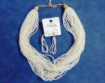 Lovely Fashion Multi-Strand White Bead Necklace & Matching Earrings E1909