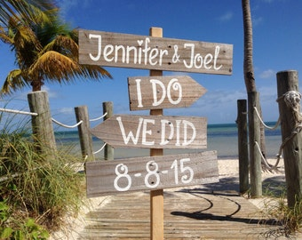 I Do We Did Beach Sign, Rustic Wedding Decor, Gift Wedding Idea