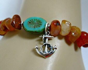 Ocean Anchor Bracelet, Sterling Silver Anchor, Agate Stones, Gift For Her, Protection Bracelet, Good Luck Bracelet, Anchor Charm