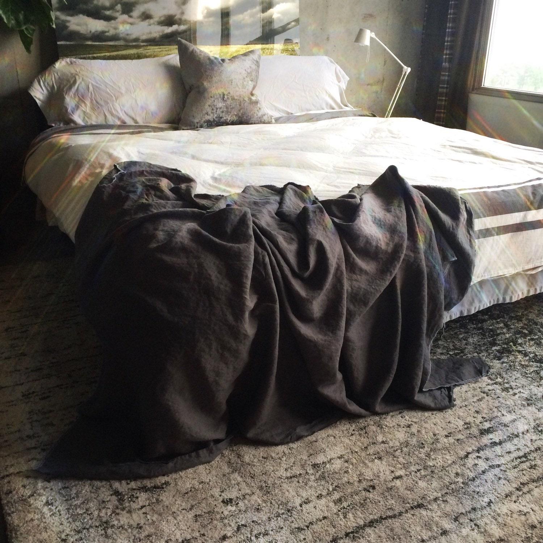 XL Dark Grey Linen Throw Blanket Neutral Blanket Rustic