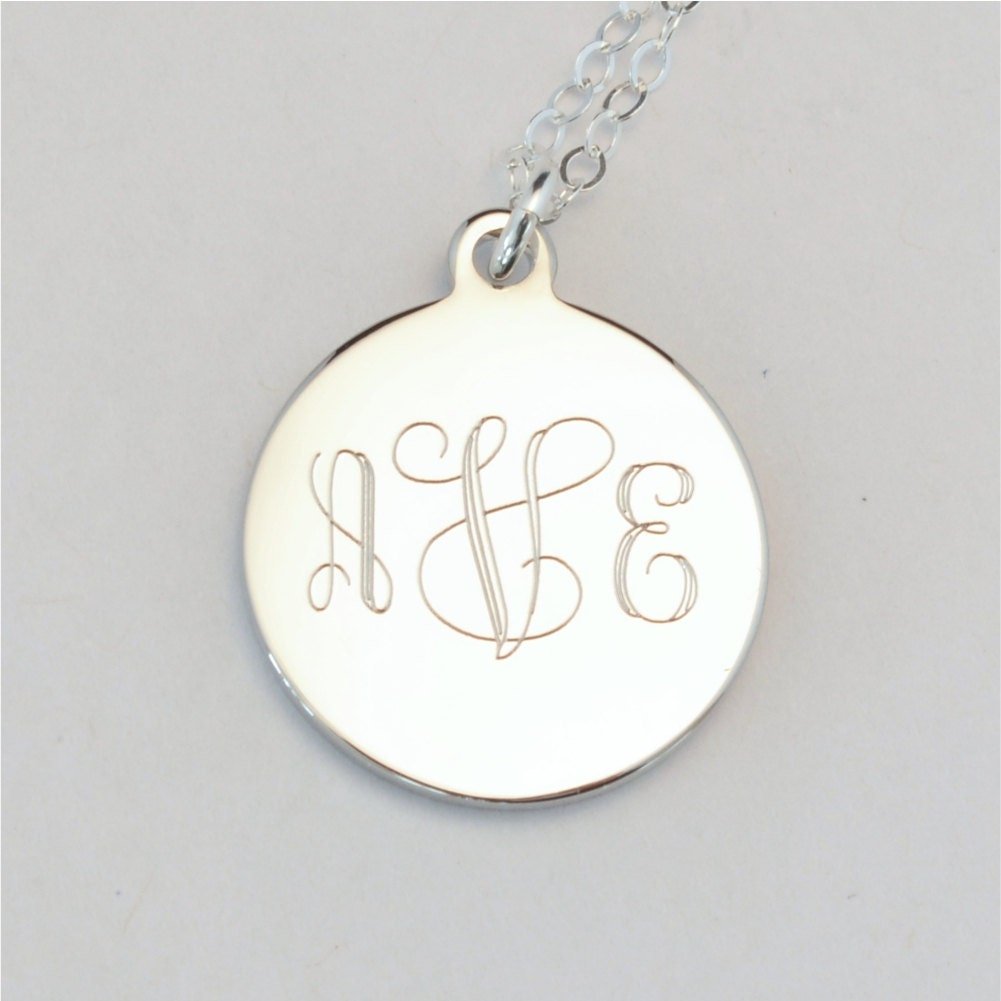 small custom engraved monogram charm necklace personalized
