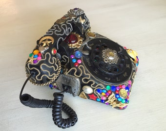 Absinthe Minded - Decorated Vintage Rotary Phone