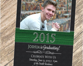 Graduate / Choose Your Colors / Personalized 1 or 2 Photos,  4x6 OR 5x7 Announcement / Invitation in Hi-Res JPEG Format.