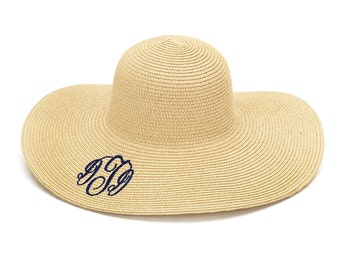 Natural Monogrammed Floppy Hat