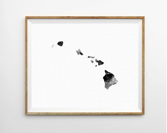Hawaii Watercolor Print, Hawaii Art Print, Hawaii Poster, State Art Print, Watercolor Print, Watercolor Poster, State Poster