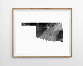 Oklahoma Watercolor Print, Oklahoma Art Print, Oklahoma Poster, State Art Print, Watercolor Print, Watercolor Poster, State Poster