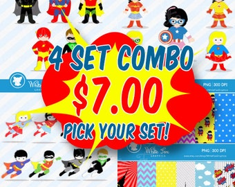 4 Set Combo Super hero Clipart / Personal and Commercial Use / Superheroes Clip Art / Mix and Match your set