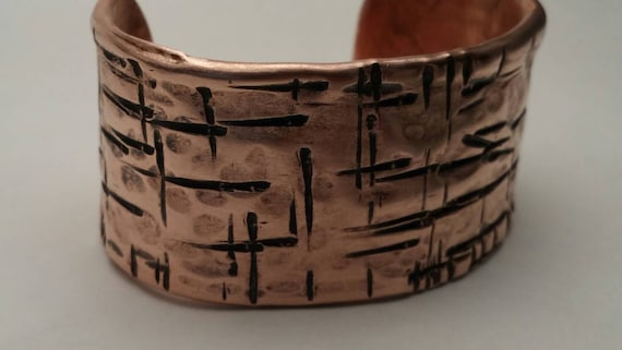 Rustic Handmade Hammered Copper Cuff Bracelet men's women's copper cuff