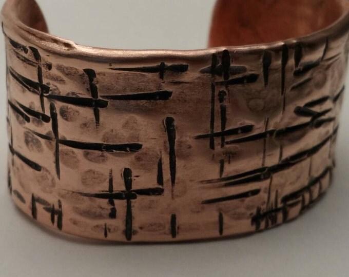 Rustic Handmade Hammered Copper Cuff Bracelet men's women's copper cuff