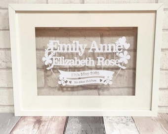 Personalised baby framed papercut christening gift
