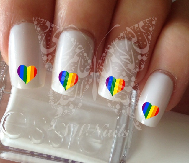 Pride Nail Designs: Gay Pride Heart Nail Art Nail Water Decals Transfers By