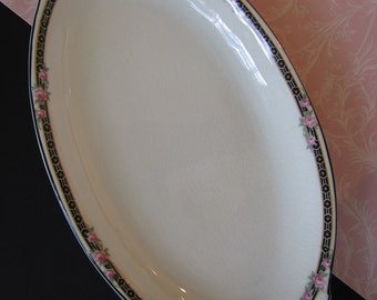 Vintage Canonsburg China Small Oval Pickle Dish Relish Dish Black Trim Pink Rose Buds Pennsylvania 1930's