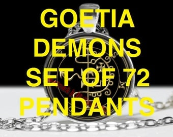Collection set of 72 Goetia pendants with sigils of demons | King Solomon Magick, Lemegeton jewelry | ritual jewelry, esoteric necklace #104