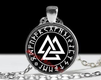 Valknut pendant, Runes jewelry, Norse necklace, viking amulet, Wotans knot symbol #95