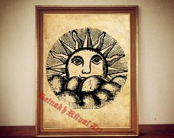 SUN antique print illustration poster vintage home decor alchemy magick hermetism gnostic occult