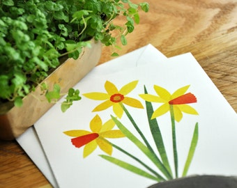 Spring Daffodil Greeting Card, Blank