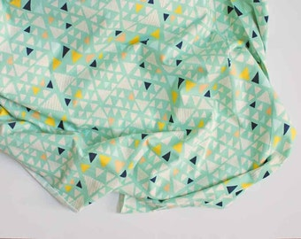 modern triangle knit fabric   Mojave Aloe by Leah Duncan for Art Gallery fabrics   southwest style geometric four way stretch material