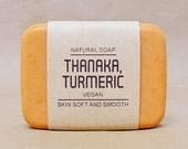 Thanaka soap mixed Turmeric (Curcuma longa), Pine essential oil scented, Vegan and Natural 100%, Nourish your skin and Acne care