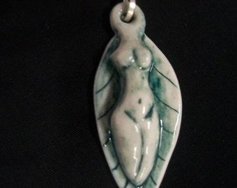 Porcelain goddess & leaf ~ green/blue color