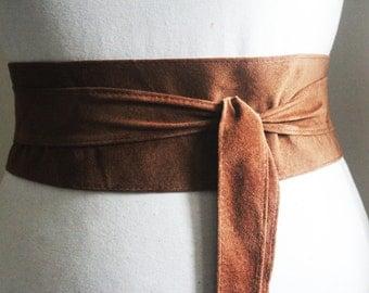 Brown Suede Belt   Brown Suede Obi Belt   Sash Belt   Corset Suede Belt   Suede Wrap Belt  Plus Size Wide Belt   Suede Accessory   Obi Belt