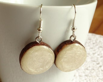 Wooden dangle earrings, wood slice earrings, hand painted wood earrings,reclaimed wood jewelry, eco friendly earrings (0182)