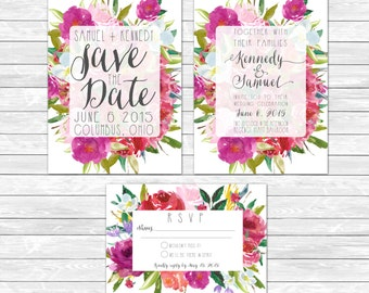 "Wedding Invitation | Save The Date | RSVP insert | Summer | Floral | Watercolor | Bright | Modern Feminine | Floral |  5"" x 7"""