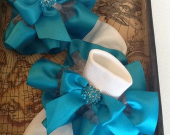 Girls turquoise organza and satin ruffle trim