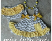 Yellow, white and gray swing dress, yellow baby dress, romper, chevron dress 6, 9, 12,18,24 months