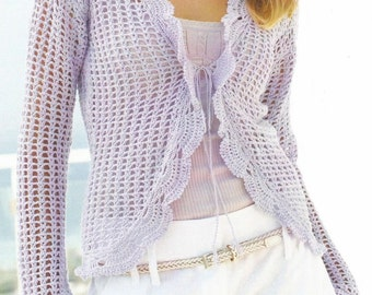 Instant Download - PDF- Lovely  Lacey Cardigan Crochet Pattern (AD15)