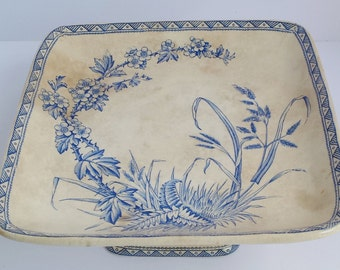 Antique Booth Transferware or Transfer Ware Hawthorn Print Blue and White Square Pedestal Dish
