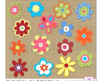 Digital Flowers Clipart. Assortment of 14 colorful flowers. Instant Download