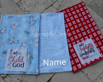 Baby Boy Scripture burp Cloths FREE MONOGRAM