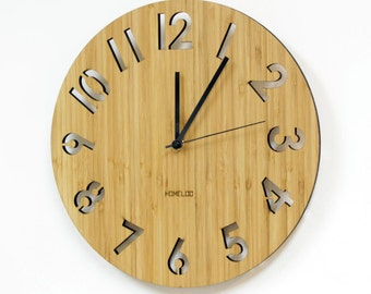 Bamboo Unique Wall Clock -  Modern Numeric