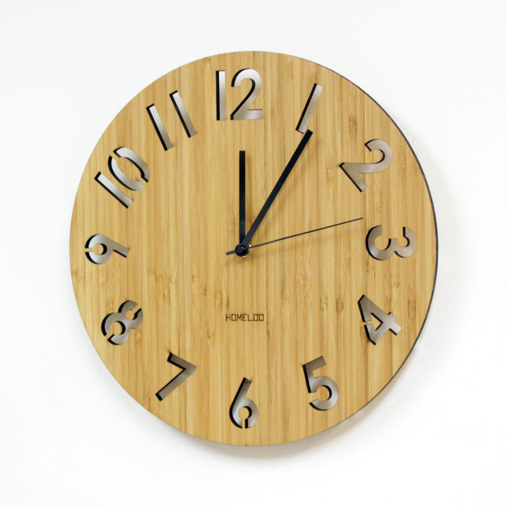 Bamboo Unique Wall Clock Modern Numeric by