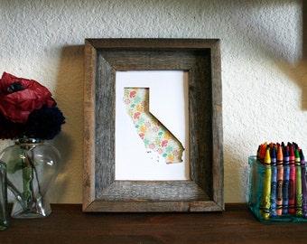 State Outline Print. Flowers. Girl. Nursery. Shadowbox. 3D. Wall Art. Home Decor.