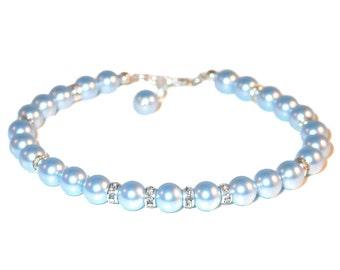 LIGHT BLUE Pearl Bracelet Sterling Silver Bridesmaid Bridal Swarovski Elements