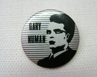 Vintage Early 80s Gary Numan Pin / Button / Badge - Silver and Black Stripes