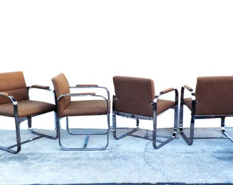 Mid Century Modern Minimalist Chrome Chairs Set of 4