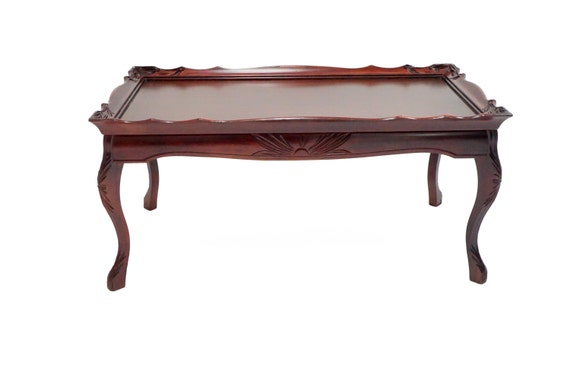 Set Of Long Cherry Wood Hand Carved Coffee Side Table W 2