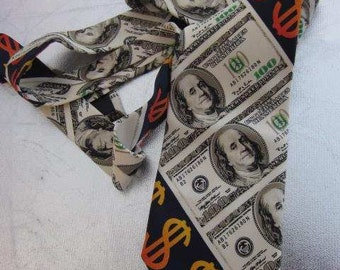 1970s Vintage Men's ROMARIO MANZINI Wide Novelty Tie American 100 Dollars Design