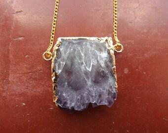 Amethyst slice necklace.