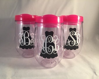 Personalized Cup, Monogram Cup, Bridal Cup, Bridesmaid Cup, Bridal Party Gift, Wine Cup, Monogram Gift, Bev2Go, Beach Cup, Bachelorette Cup